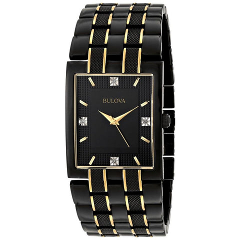 Bulova 98D004 Men's Diamond Analog Display Quartz Watch, Black Stainless Steel Band, Rectangle 30mm Case
