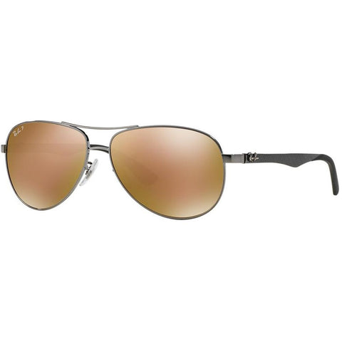 Ray-Ban RB8313 004/N3 Carbon Fibre Tech Sunglasses, Gunmetal Frame, Gold Mirror Polarized 61mm Lenses