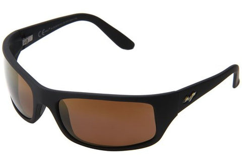 Maui Jim H202-2M Peahi Sunglasses, Matte Black Frame, HCL Bronze Polarized 65mm Lenses