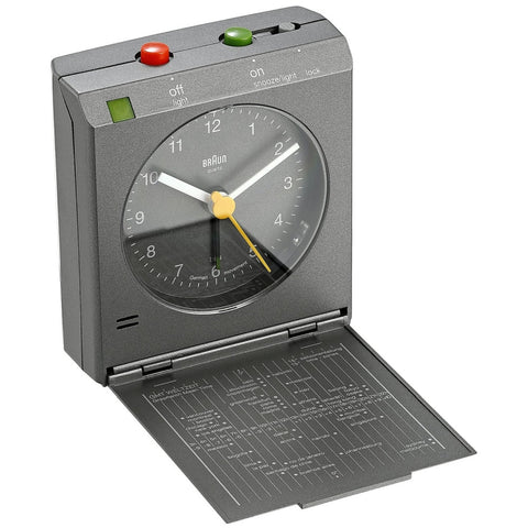 Braun BNC005GYGY Analog Display Quartz Alarm Clock, Rectangle 72mm Case, Gray