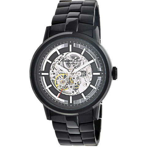Kenneth Cole KC3981 Men's Analog Display Automatic Watch, Black Stainless Steel Band, Round 46mm Case
