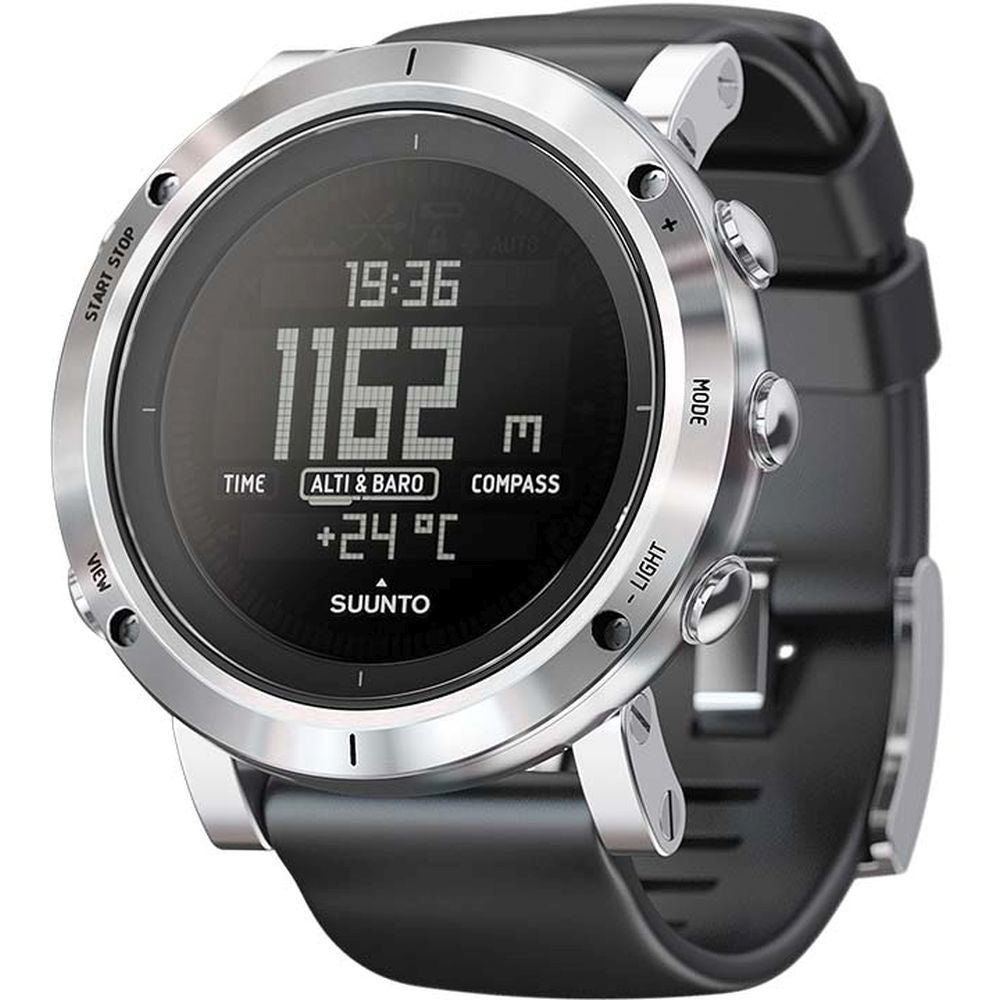 Suunto SS020339000 Core Brushed Steel Digital Display Quartz Watch, Black Silicone Band, Round 49.1mm Case