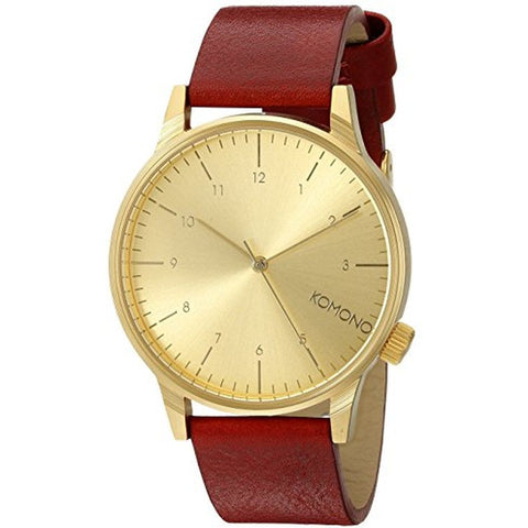 Komono KOM-W2250 Winston Regal Series Analog Display Quartz Watch, Red Leather Band, Round 41mm Case