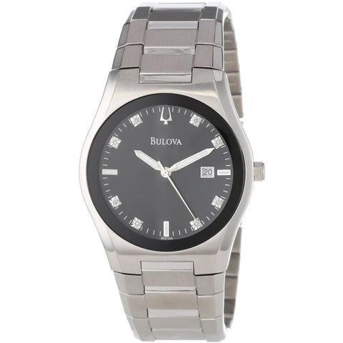 Bulova 96D104 Diamond Analog Display Quartz Watch, Silver Stainless Steel Band, Round 40mm Case