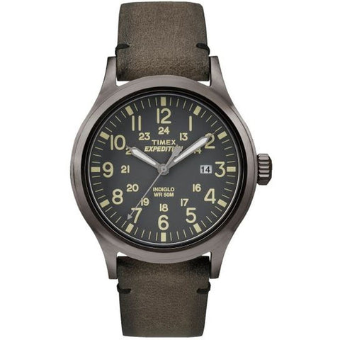 Timex TW4B017009J Expedition Scout Men's Analog Display Quartz Watch, Brown Leather Band, Round 40mm Case