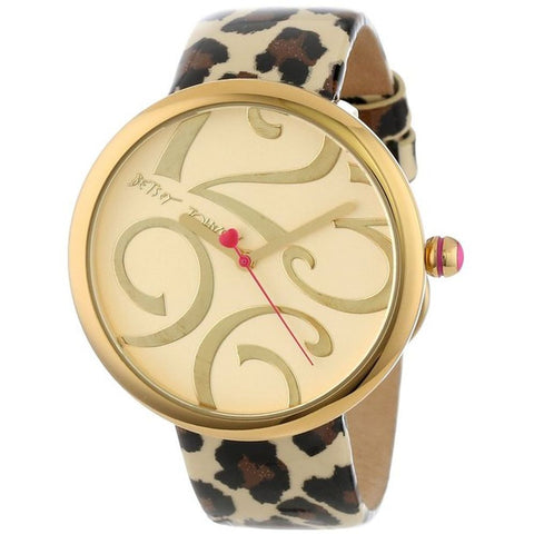 Betsey Johnson BJ00068-05 Women's Analog Display Quartz Watch, Leopard Printed Leather Band, Round 42mm Case