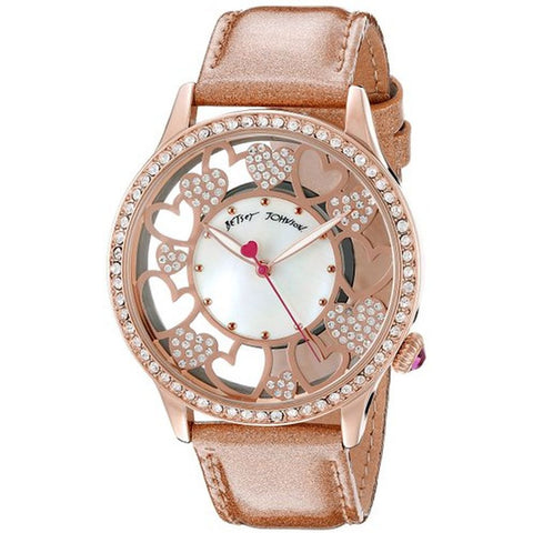 Betsey Johnson BJ00331-06 Women's Analog Display Quartz Watch, Metallic Leather Band, Round 41mm Case