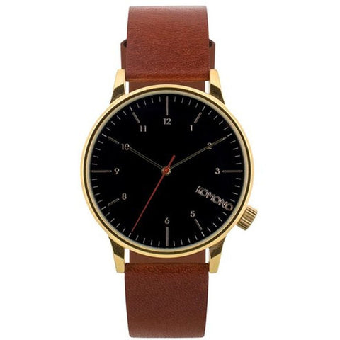 Komono KOM-W2258 Unisex Winston Regal Pecan Analog Display Quartz Watch, Brown Leather Band, Round 41mm Case