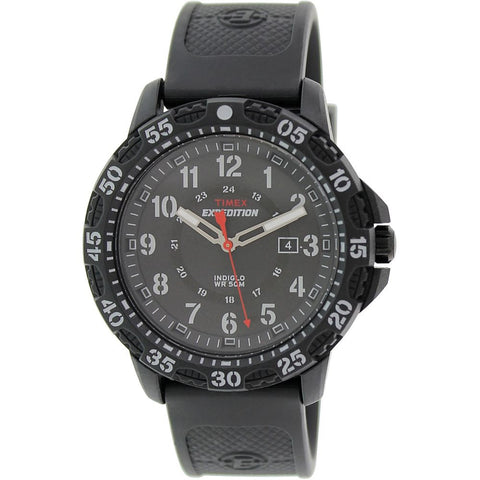 Timex T49994 Expedition Rugged Resin Analog Display Quartz Watch, Black Rubber Band, Round 45mm Case