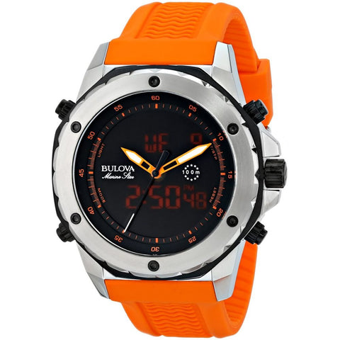 Bulova 98C118 Marine Star Alarm Chronograph Analog-Digital Display Men's Watch, Orange Rubber Strap, Round 45.6mm Case