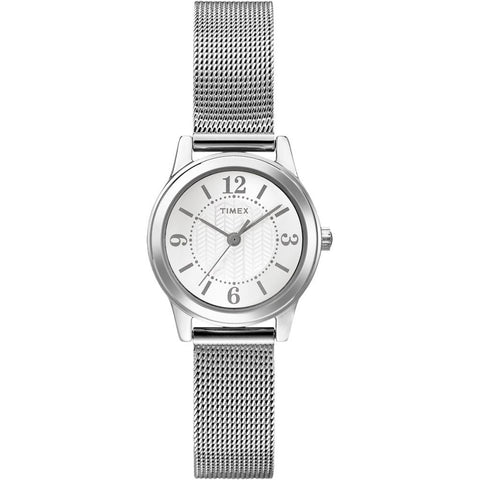 Timex T2P4579J Main Street Modern Minis Women's Analog Display Quartz Watch, Silver Stainless Steel Band, Round 25mm Case