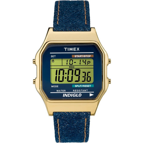 Timex TW2P77000AB Heritage Collection Unisex Digital Display Quartz Watch, Blue Leather Band, Square 34mm Case