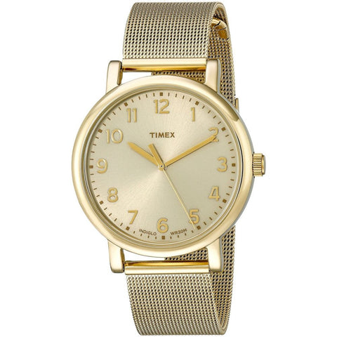 Timex T2N598AB Originals Classic Round Analog Display Quartz Watch, Gold-Tone Stainless Steel Mesh Band, Round 38mm Case