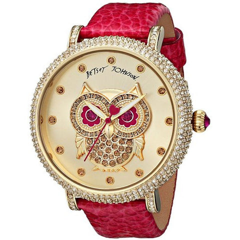 Betsey Johnson BJ00396-06 Women's Analog Display Quartz Watch, Pink Leather Band, Round 46mm Case