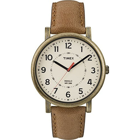 Timex T2P2209J Vintage Originals Men's Analog Display Quartz Watch, Tan Leather Band, Round 42mm Case