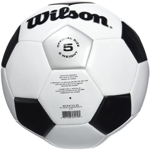 Wilson WTE8735XB05 Traditional Soccer Ball, White, Size 5