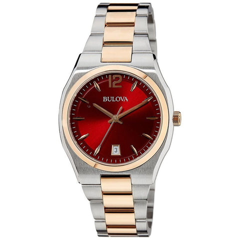 Bulova 98M119 Women's Classic Analog Display Quartz Watch, Two-Tone Stainless Steel Band, Round 34mm Case