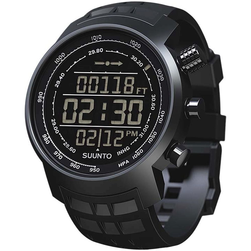 Suunto SS016979000 Elementum Terra All Black Digital Display Quartz Watch, Black Silicone Band, Round 51.5mm Case