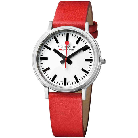 Mondaine A512.30358.16SBC Stop2go Analog Display Quartz Watch, Red Leather Band, Round 41mm Case