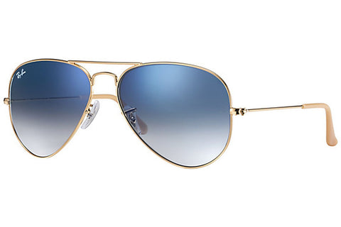 Ray-Ban RB3025 001/3F 62 Aviator Gradient Sunglasses, Gold Frame, Light Blue Gradient 62mm Lenses