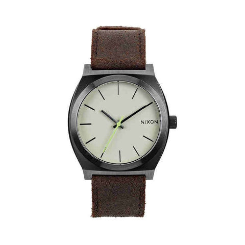 Nixon A0451388-00 Men's Time Teller Gunmetal/Brown Analog Watch, Brown Leather Band, Round 37mm Case
