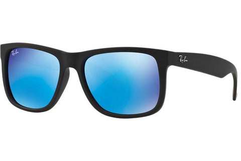 Ray-Ban RB4165 622/55 Justin Color Mix Sunglasses, Black Frame, Blue Mirror 54mm Lenses