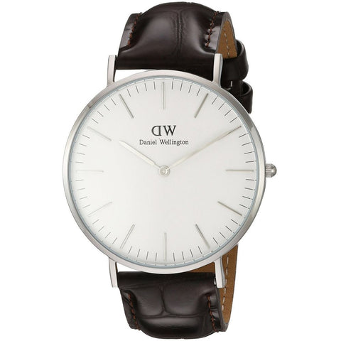 Daniel Wellington 0211DW York Quartz Analog Men's Watch, Dark Brown Leather Band, Silver 40mm Case