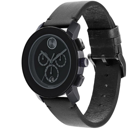 Movado 3600337 Bold Analog Display Chronograph Quartz Watch, Black Leather Band, Round 43.5mm Case