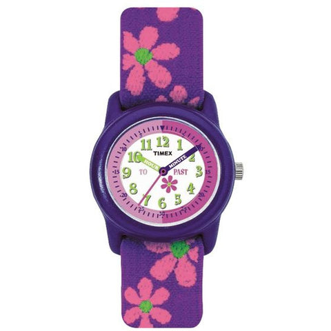 Timex T890229J Time Teacher Kids Analog Display Quartz Watch, Purple Fabric Elastic Band, Round 29mm Case
