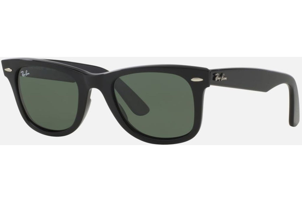 Ray-Ban RB2140 901 Original Wayfarer Sunglasses, Black Frame, Green Classic 50mm Lenses