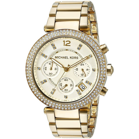 Michael Kors MK5354 Parker Analog Display Chronograph Quartz Watch, Gold-Tone Stainless Steel Band, Round 39mm Case