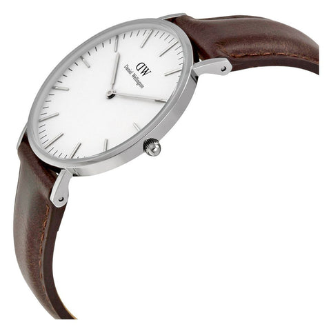 Daniel Wellington 0611DW Bristol Quartz Analog Women's Watch, Dark Brown Leather Band, Silver 36mm Case