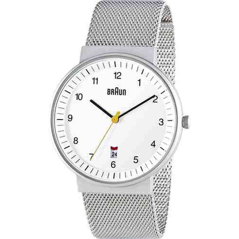 Braun BN0032WHSLMHG Men's Classic Analog Display Quartz Watch, Silver Stainless Steel Band, Round 40mm Case