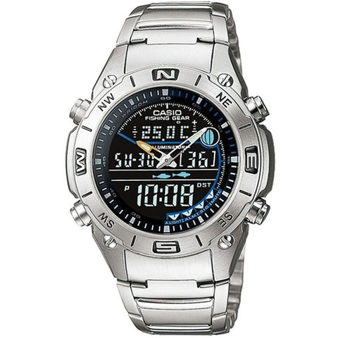 Casio AMW703D-1AV Men's Analog/Digital Display Quartz Watch, Silver Stainless Steel Band, Round 40mm Case