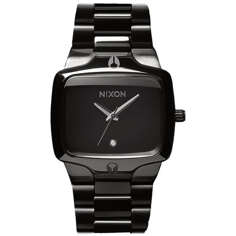 Nixon A140001 Men's Player All Black Analog Watch, Black Stainless Steel Band, Rectangle 40mm Case