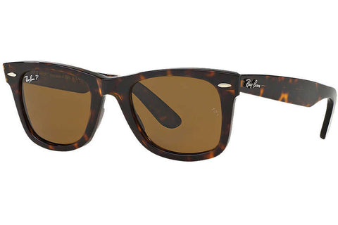 Ray-Ban RB2140 902/57 Original Wayfarer Classic Sunglasses, Tortoise Frame, Polarized Brown Classic 50mm Lenses