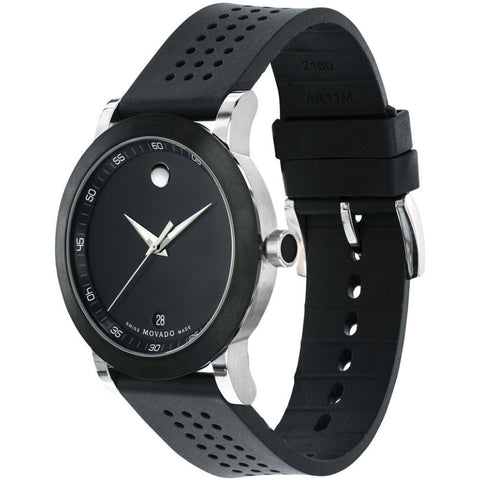 Movado 0606507 Museum Sport Analog Display Quartz Watch, Black Rubber Band, Round 42mm Case