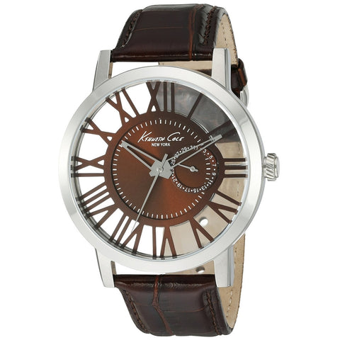 Kenneth Cole 10020811 Men's Analog Display Quartz Watch, Brown Leather Band, Round 44mm Case