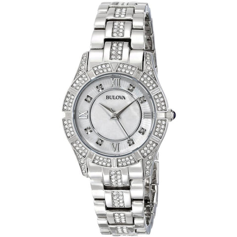 Bulova 96L116 Crystal Women's Analog Display Quartz Watch, Silver Stainless Steel Band, Round 30.4mm Case
