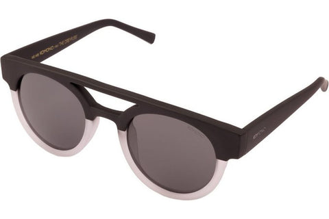 Komono KOM-S1901 Dreyfuss Matte Black/Transparent Sunglasses, Matte Black & Transparent Frame, Solid Smoke 50mm Lenses