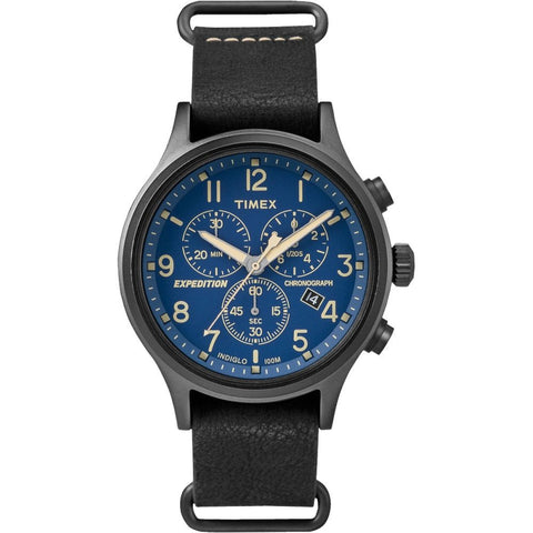 Timex TW4B042009J Expedition Scout Chrono Men's Analog Display Quartz Watch, Black Leather Band, Round 42mm Case