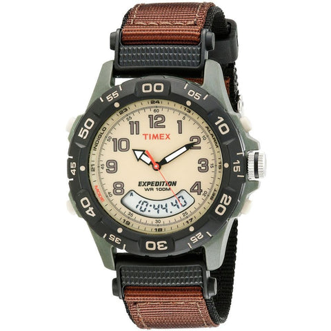 Timex T45181 Expedition Resin Combo Analog and Digital Display Quartz Watch, Brown Nylon Band, Round 39mm Case