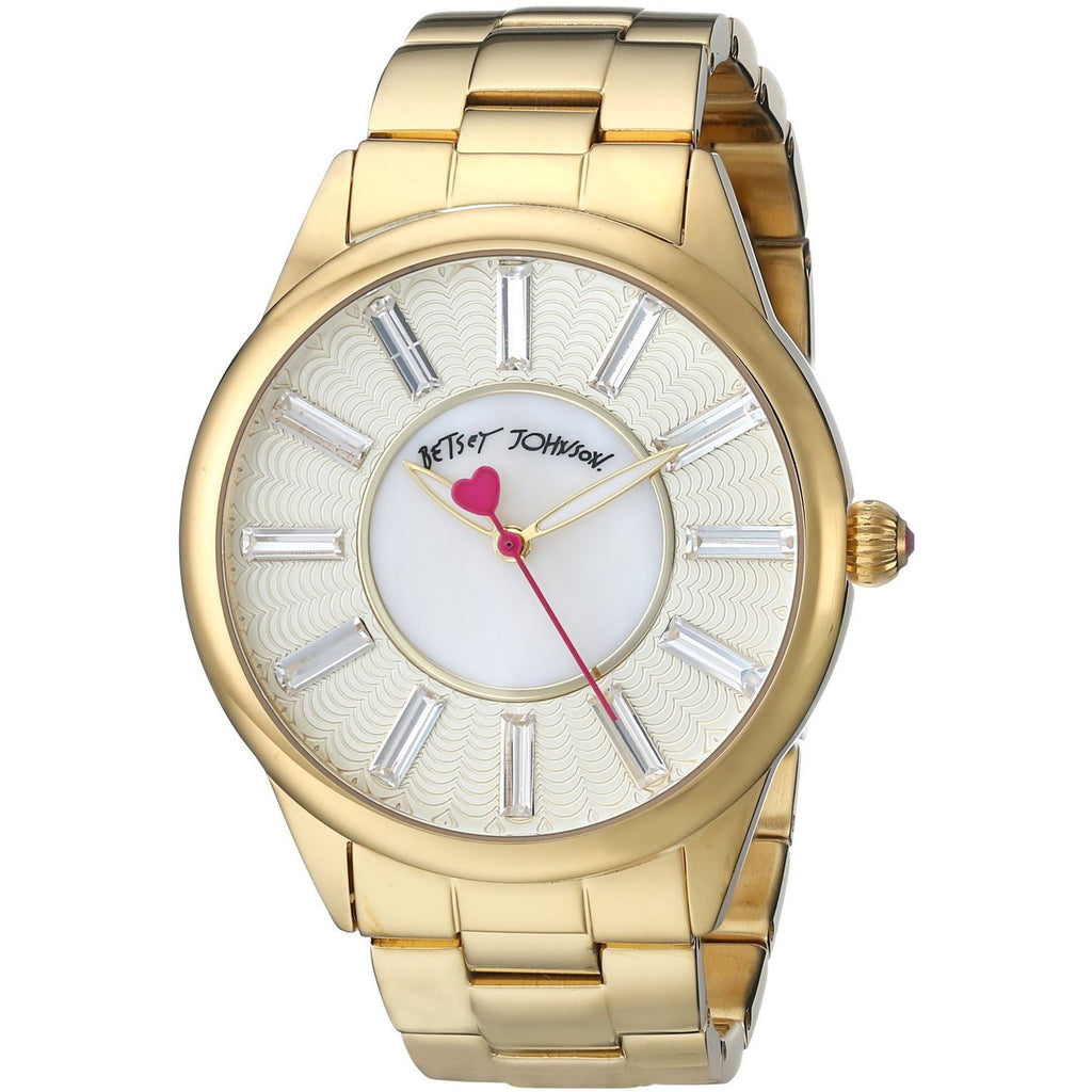 Betsey Johnson BJ00433-02 Women's Analog Display Quartz Watch, Gold Stainless Steel Band, Round 40mm Case
