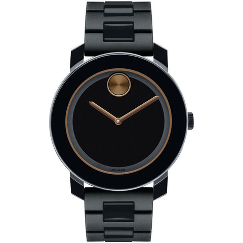 Movado 3600315 Bold Analog Display Quartz Watch, Black Polyurethane and Stainless Steel Link Band, Round 42mm Case
