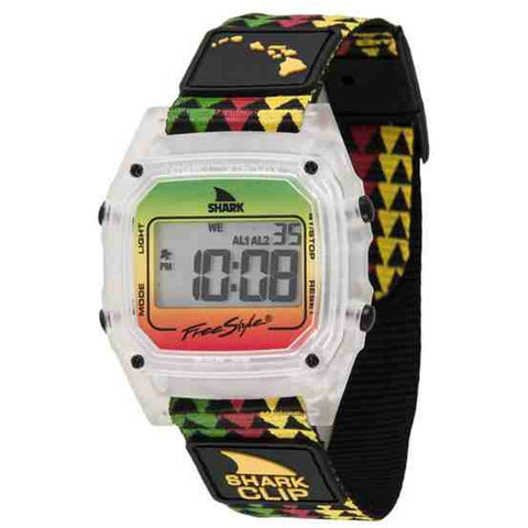 Freestyle Unisex 10022119 Shark Clip Hawaii Green/Red/Yellow Digital Watch, Multicolor Nylon Band, Square 30mm Case