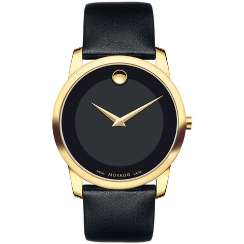 Movado 0606876 Museum Classic Analog Display Quartz Watch, Black Leather Band, Round 40mm Case