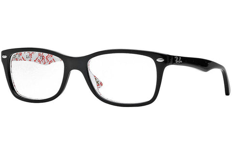 Ray-Ban RB5228 5014 Logomania Eyeglasses, Top Black On Texture White Frame, Clear 53mm Lenses
