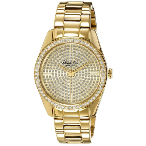 Kenneth Cole KC4957 Women's Analog Display Quartz Watch, Gold Stainless Steel Band, Round 39mm Case
