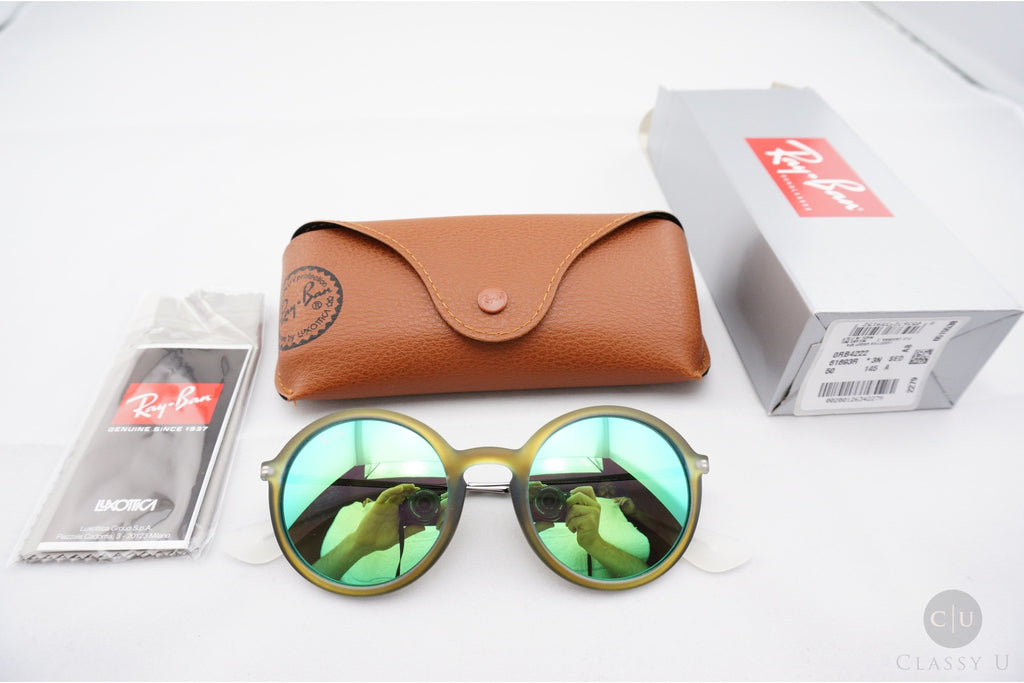 Ray-Ban RB4222 6169/3R Sunglasses, Green Frame, Green Flash 50mm Lenses
