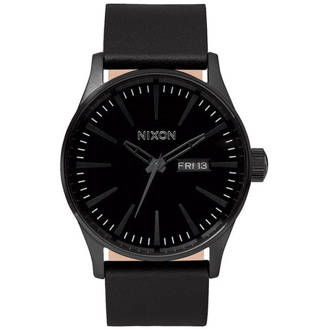Nixon Men's A105001 Sentry Leather All Black Analog Watch, Black Leather Band, Round 42mm Case